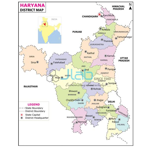 Haryana India Map.Haryana Map Chart India Haryana Map Chart Manufacturer Haryana Map
